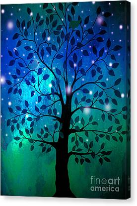 Singing In The Aurora Tree Canvas Print by Cheryl Rose