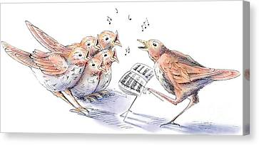 Ink Drawing Canvas Print - Singing Lessons by Debbie  Diamond