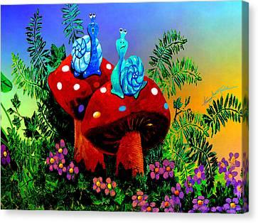 Singing Snail Canvas Print by Hanne Lore Koehler