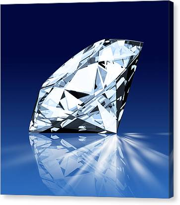 Shiny Canvas Print - Single Blue Diamond by Setsiri Silapasuwanchai