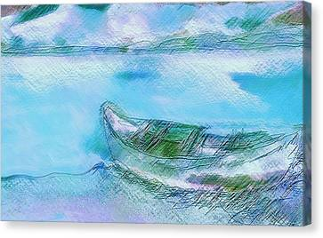 Single Boat On Shore Canvas Print
