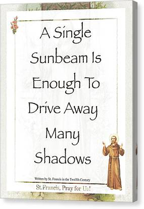 Francis Canvas Print - Single Sunbeam By St. Francis Of Assisi by Desiderata Gallery