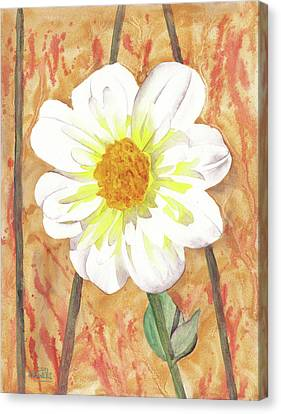 Single White Flower Canvas Print by Ken Powers
