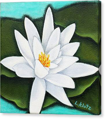 Single White Water Lily Canvas Print by Lorraine Klotz