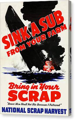 Navy Canvas Print - Sink A Sub From Your Farm by War Is Hell Store