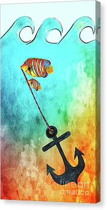 Canvas Print featuring the mixed media Sink Or Swim By Kaye Menner by Kaye Menner