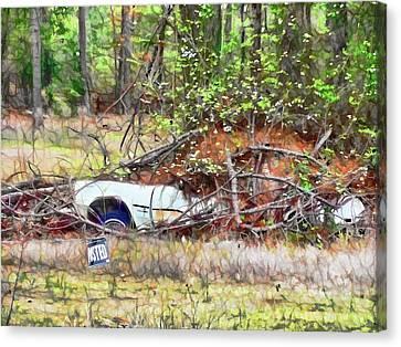 Sinking Abandoned Car Canvas Print