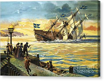 Lost At Sea Canvas Print - Sinking Of The Vasa by Andrew Howat