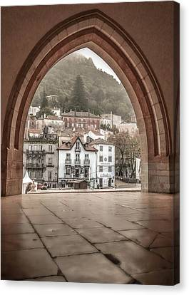 Canvas Print featuring the photograph Sintra Through The Arch by Julie Palencia