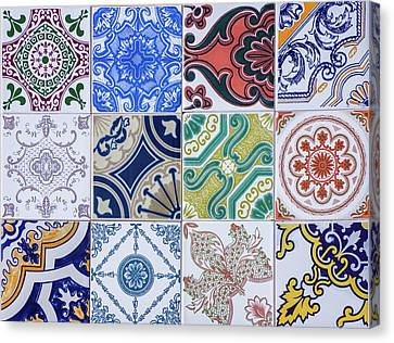 Canvas Print featuring the photograph Sintra Tiles by Carlos Caetano