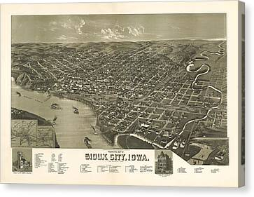Sioux City Iowa 1888 Canvas Print by Mountain Dreams