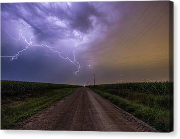 Canvas Print featuring the photograph Sioux Falls Lightning by Aaron J Groen