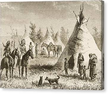 Sioux Village Showing Teepees. From Canvas Print