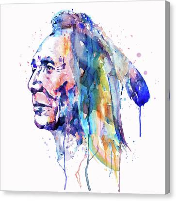Sioux Warrior Watercolor Canvas Print