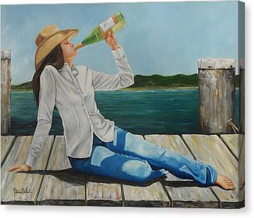 Sippin' On The Dock Of The Bay Canvas Print by Patricia DeHart