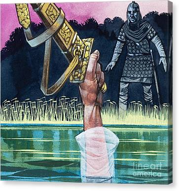 Arthurian Canvas Print - Sir Bedivere Returns Excalibur To The Lady Of The Lake by Richard Hook