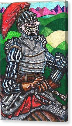 Canvas Print featuring the drawing Sir Bols The Black Knight by Al Goldfarb