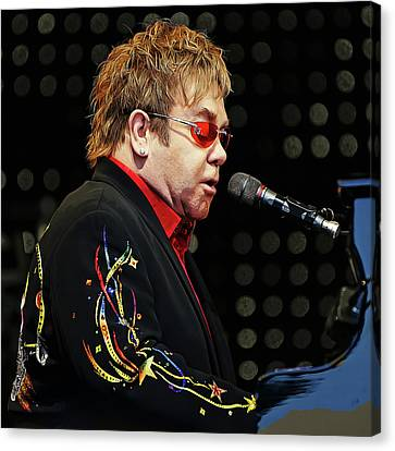 Sir Elton John At The Piano Canvas Print by Elaine Plesser