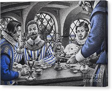 Sir Francis Drake At The Table Canvas Print