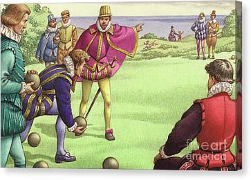 Sir Francis Drake Playing Bowls Before The Arrival Of The Spanish Armada Canvas Print by Pat Nicolle