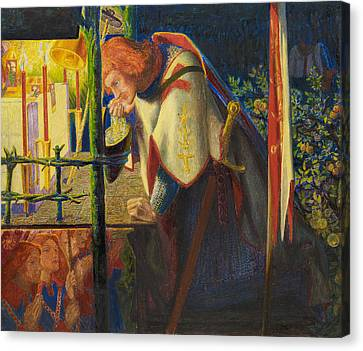 Sir Galahad At The Ruined Chapel Canvas Print by Dante Gabriel Rossetti