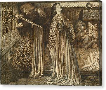 Sir Launcelot In The Queen's Chamber Canvas Print by Dante Gabriel Rossetti