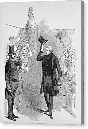 Sir Robert Peel Arriving At The House Of Commons Canvas Print by English School