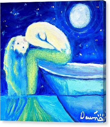 Canvas Print featuring the painting Siren Sea by Dawn Harrell