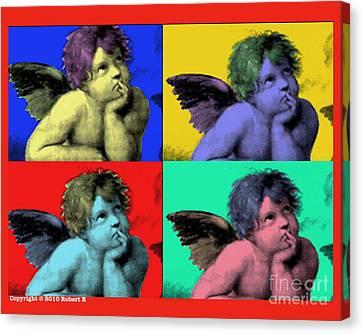 Sisteen Chapel Cherub Angels After Michelangelo After Warhol Robert R Splashy Art Pop Art Prints Canvas Print by Robert R Splashy Art