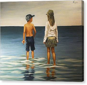 Sister And Brother Canvas Print by Natalia Tejera