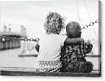 Sister And Brother Canvas Print by Thomas M Pikolin