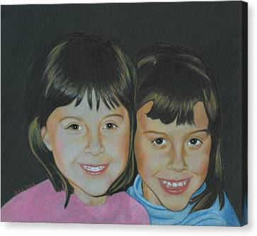 Canvas Print featuring the drawing Sisters  by Ana Tirolese