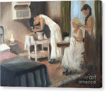 Hair-washing Canvas Print - Sisters by Bonnie Blaylock