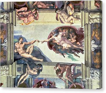 Sistine Chapel Ceiling Creation Of Adam Canvas Print by Michelangelo