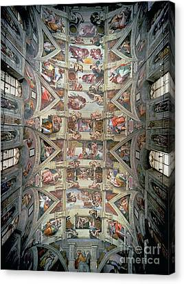 Sistine Chapel Ceiling Canvas Print by Michelangelo
