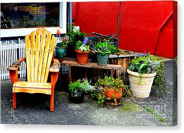 Store Fronts Canvas Print - Sit And Relax by Loretta Bueno
