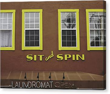 Canvas Print featuring the mixed media Sit And Spin Laundromat Color- By Linda Woods by Linda Woods