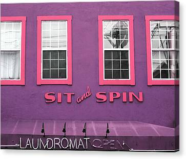 Sit And Spin Laundromat Purple- By Linda Woods Canvas Print by Linda Woods