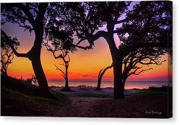 Sit With Me Driftwood Beach Sunrise Jekyll Island Georgia Canvas Print by Reid Callaway