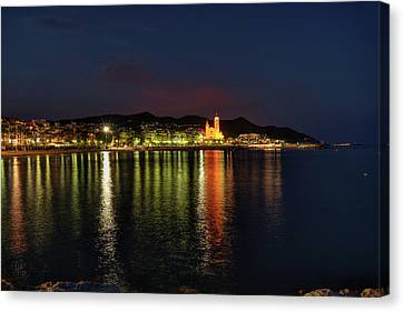 Canvas Print featuring the photograph Sitges Night 001 by Lance Vaughn