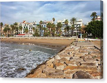 Sitges Town Skyline And Sea Pier In Spain Canvas Print by Artur Bogacki