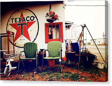 Sitting At The Texaco Canvas Print by Toni Hopper