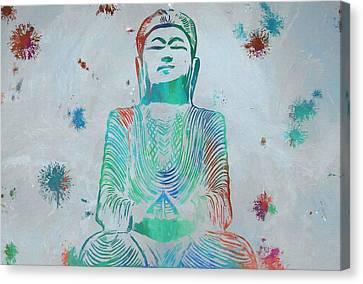 Sitting Buddha Paint Splatter Canvas Print by Dan Sproul