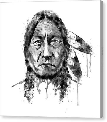 Canvas Print featuring the mixed media Sitting Bull Black And White by Marian Voicu