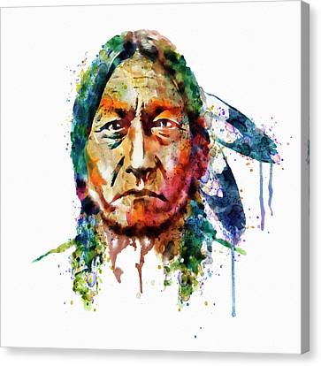 Contemporary Digital Art Canvas Print - Sitting Bull Watercolor Painting by Marian Voicu