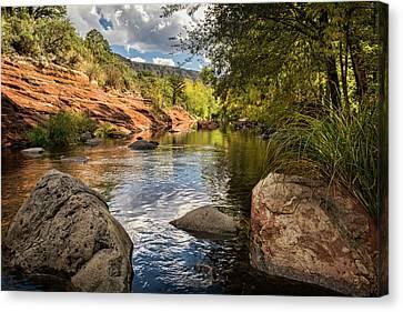 Oak Creek Canvas Print - Sitting Creekside Oak Creek  by Saija Lehtonen