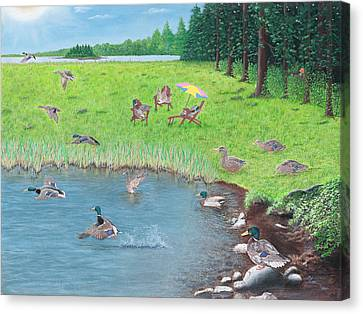 Canvas Print featuring the painting Sitting Ducks by Cindy Lee Longhini