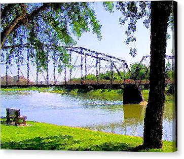 Canvas Print featuring the photograph Sitting In Fort Benton by Susan Kinney