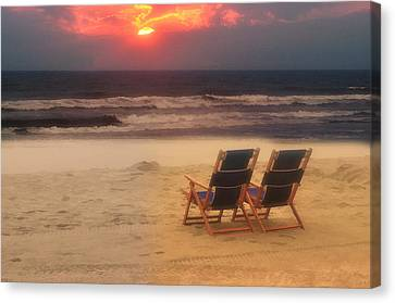 Sitting On The Beach Canvas Print by Kathy Jennings