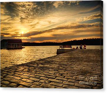 Sitting On The Dock Of The Lake Canvas Print by Mark Miller